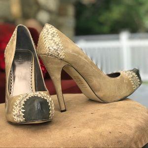 Bakers beige heels snakeskin print